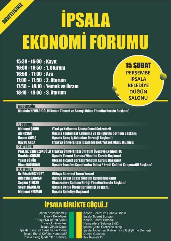 İpsala'nın Ekonomisi Yarın Masada….
