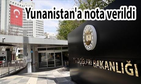 Türkiye Yunanistan'a Nota Verdi.
